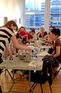 Tammy leading a large workshop for Femme Toxic on organic, herbal skincare